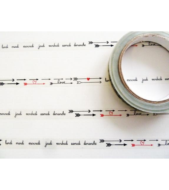 Déco Tape Transparent - Flèches - Jours - coeurs rouges