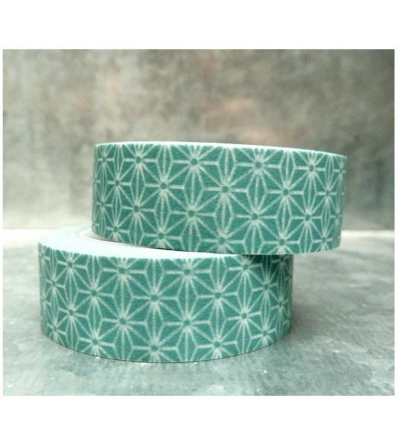 Masking Tape - étoile japonisante gris-bleu
