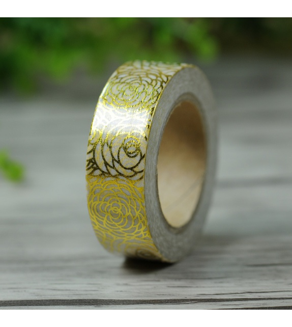 Masking Tape Foil Tape - roses or fond blanc