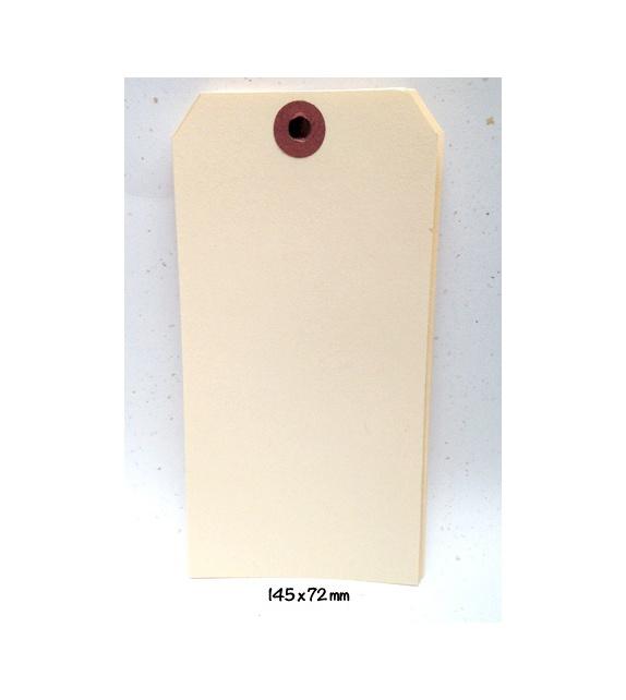 Tags avec oeillet kraft - XXL (145 x 72 mm) (x 10) - Vanille