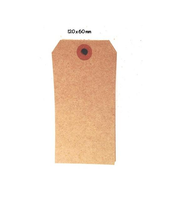 Tags avec oeillet kraft - L (121 x 60 mm) (x 10) - Marron