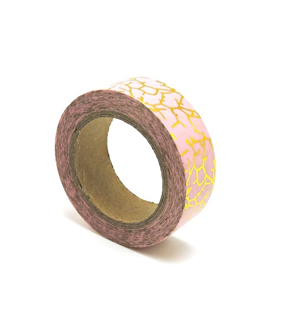 Solo Foil Tape - crackles gold on powder pink