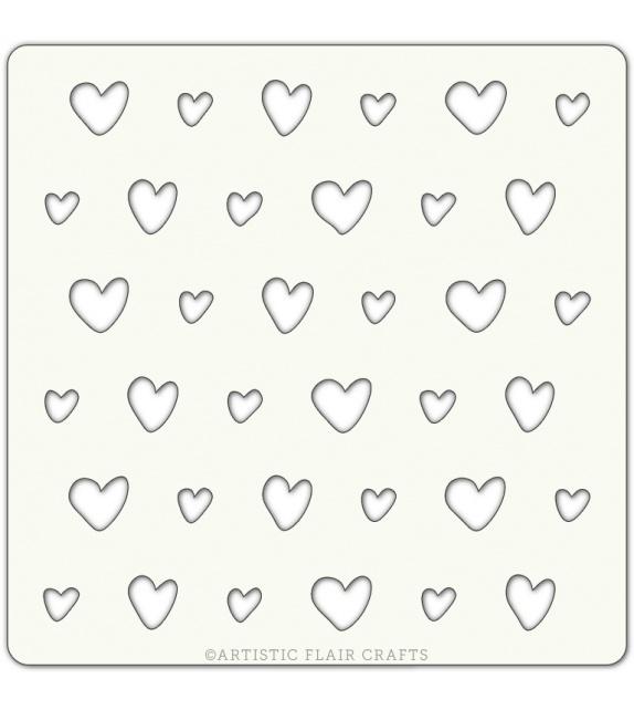 Pochoir 10 x 10 cm- Jolis coeurs (scrappy hearts)