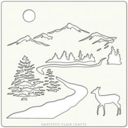 """Pochoir 6""""x 6""""- woodland walk Noël"""