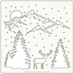 """Pochoir 6""""x 6""""-Winter Valley"""