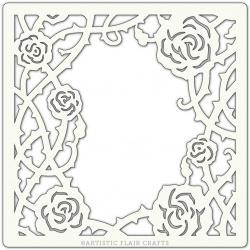 "Pochoir 6""x 6""- Climbing Roses"
