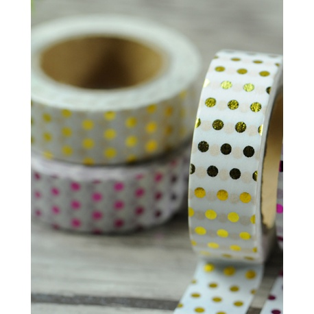 Solo Foil Tape - Polka Dots Gold on white