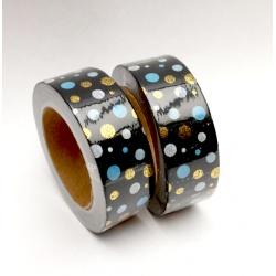 Masking Tape Foil Tape - Pois Bleu blanc Or sur fond noir