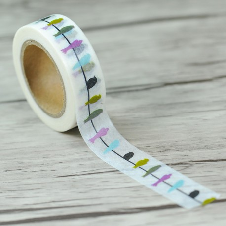 Masking Tape - Pastel Birds on a wire