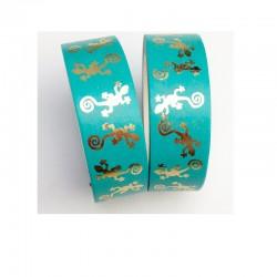 Masking Tape Foil Tape - Salamandres Or Brillant fond vert menthe