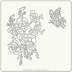 Pochoir 15 x 15 cm - Fleurs et Papillon (meadow flowers)