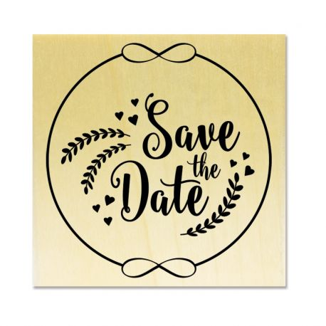 Rubber stamp - Wreath Save the Date