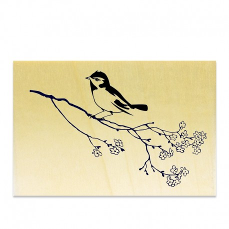 Rubber stamp - Bird on a branch (blooming)