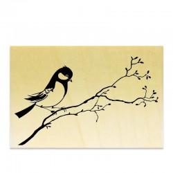 Tampon Oiseau sur une branche qui monte