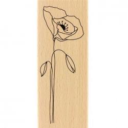 Tampon Bois Florilèges Design - Long Coquelicot