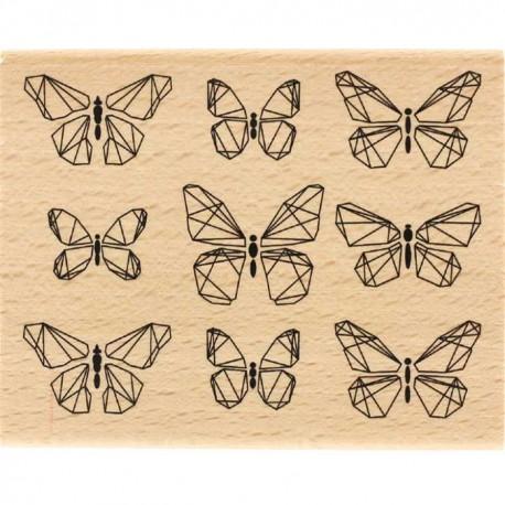 Tampon Bois Florilèges Design - Papillons graphiques