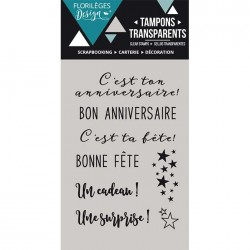 Tampon Clear Florilèges Design - Bon Anniversaire
