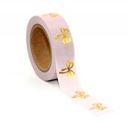 Masking Tape Foil Tape - Petits Noeuds fond rose poudré