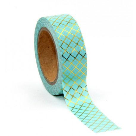 Masking Tape Foil Tape - Quadrillé Or fond Mint