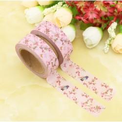 Masking Tape - Petits Oiseaux Fleurs fond Rose