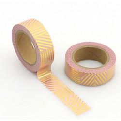 Masking Tape Foil Tape - Lignes diagonales Verticales or fond rose