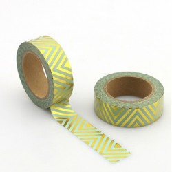 Masking Tape Foil Tape - Lignes diagonales Verticales or fond mint