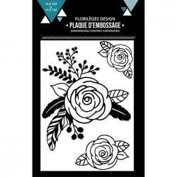 Plaque d'embossage Trois roses - 10,5 x 14,5 cm