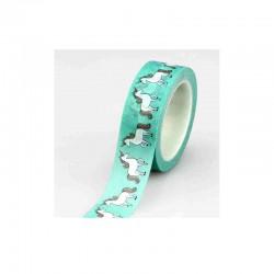Masking Tape - Licorne fond vert jade