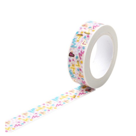Masking Tape Foil Tape - Graffiti et Coeurs tons rose et or