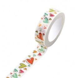Masking Tape Foil Tape - Coeurs Colorés et or