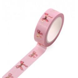 Masking Tape Foil Tape - Noeuds Or sur fond rose