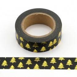 Masking Tape Foil Tape - Sapins Or fond Noir Noël