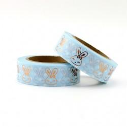 Masking Tape Foil Tape - Lapins foils fond bleu