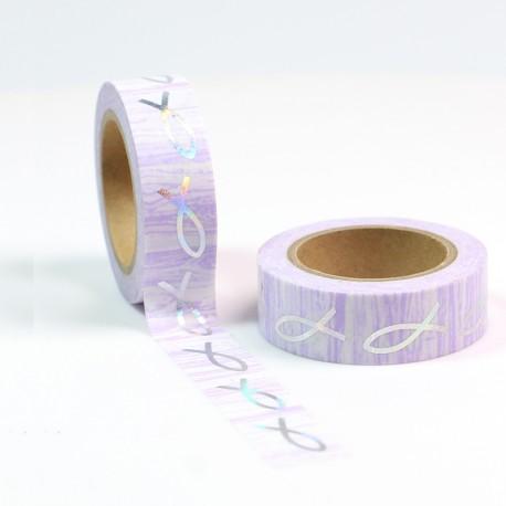 Masking Tape Foil Tape - Poissons Argent fond rose