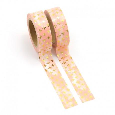 Masking Tape Foil Tape - Petites Crois or sur fond rose dégradé