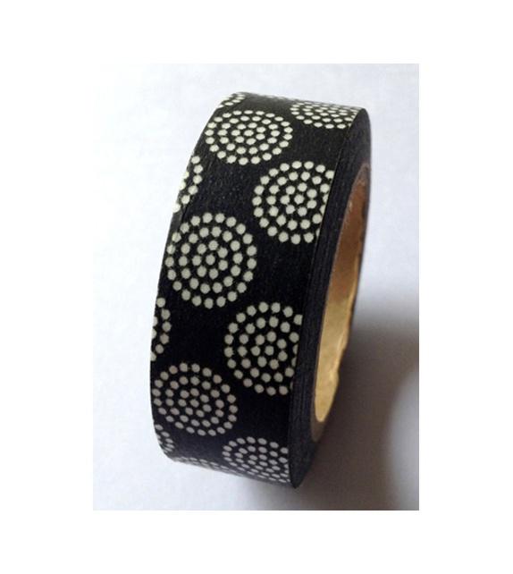 Solo masking tape - Cercles en pointillé sur fond noir