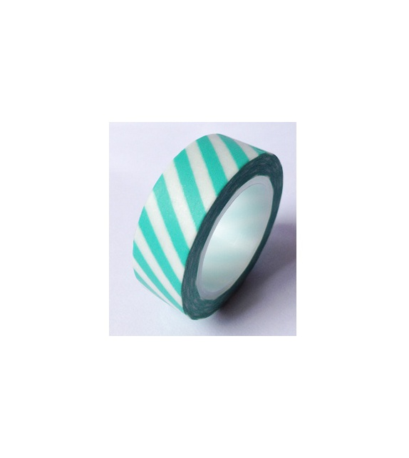 Masking tape - Diagonales bleu mint