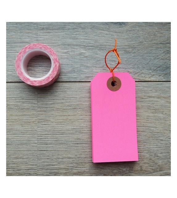 Tags avec oeillet kraft - (95 x 47 mm) (x 10) - Rose Fluo