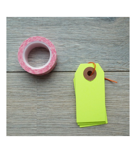 Tags avec oeillet kraft - S (35 x 70 mm) (x10) - Jaune Fluo