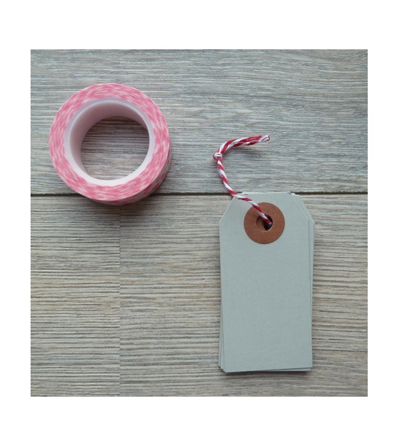 Tags avec oeillet kraft - S (35 x 70 mm) (x 10) - Gris