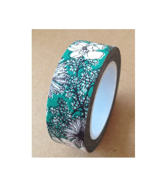 Masking tape - Jolies fleurs fond bleu vert